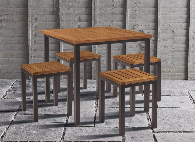Ice Robinia Wood Outdoor Low Bar Stool - Tables&Tops