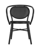 Lyon Black Outdoor Stacking Rattan Arm Chair - Tables&Tops