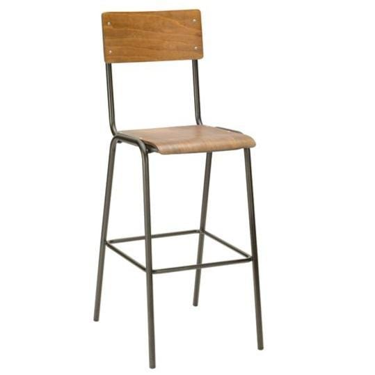 School Gun Metal Industrial High Bar Stool - Tables&Tops