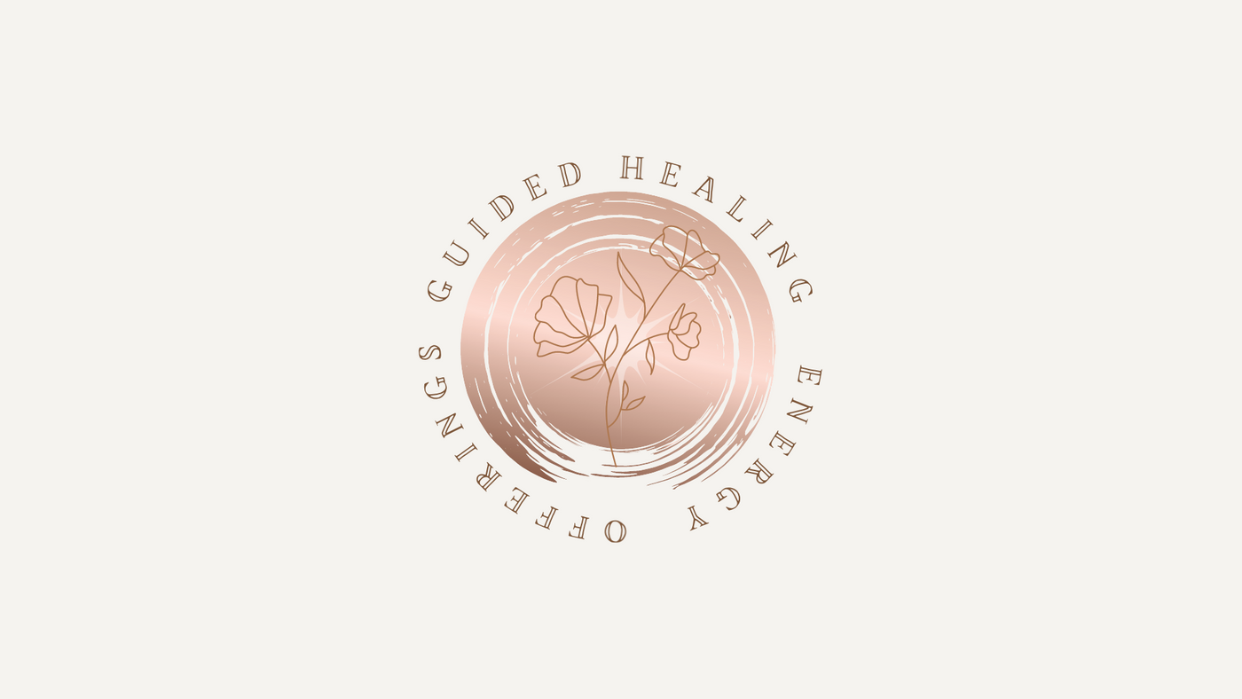 Rose Gold Circle with the words Guided Healing Energy Offerings with a flower in the center