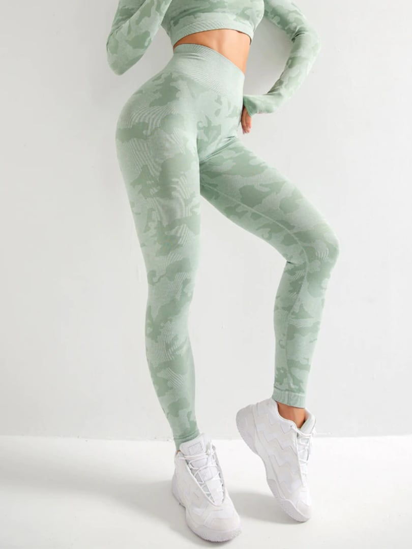 Camo Aesthetic Leggings - Green / S - Leggings