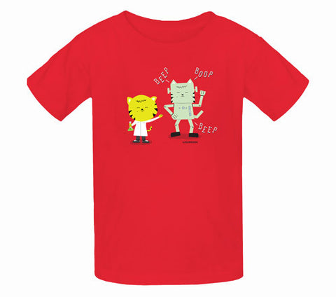 Thom Kitten Made A Robot Kids T-Shirts