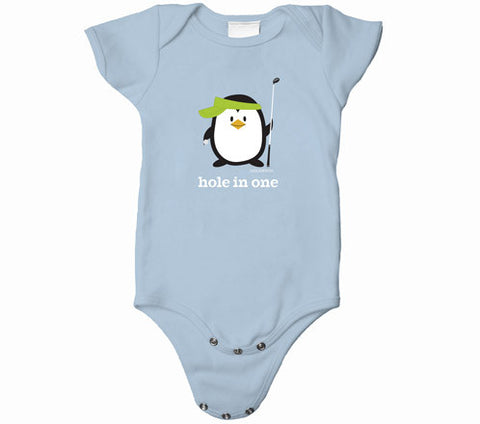 Penne the Penguin Hole In One Baby Onesies