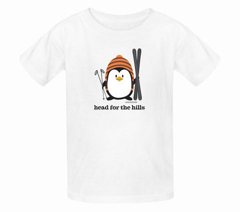Penne the Penguin Head For The Hills Kids T-Shirts