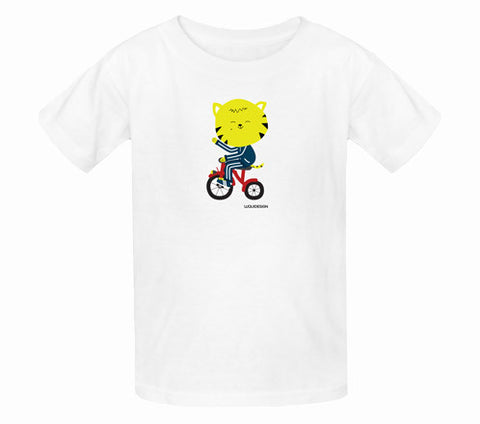 Thom Kitten Tricycle Wave Kids T-Shirts