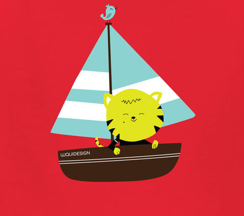Thom Kitten Sailing Away Kids T-Shirts