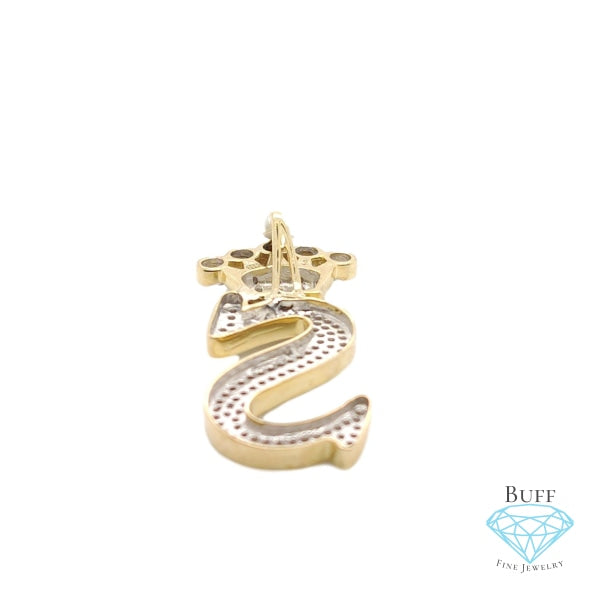 10K Yellow Gold Diamond S Letter Charm With Crown Small Size