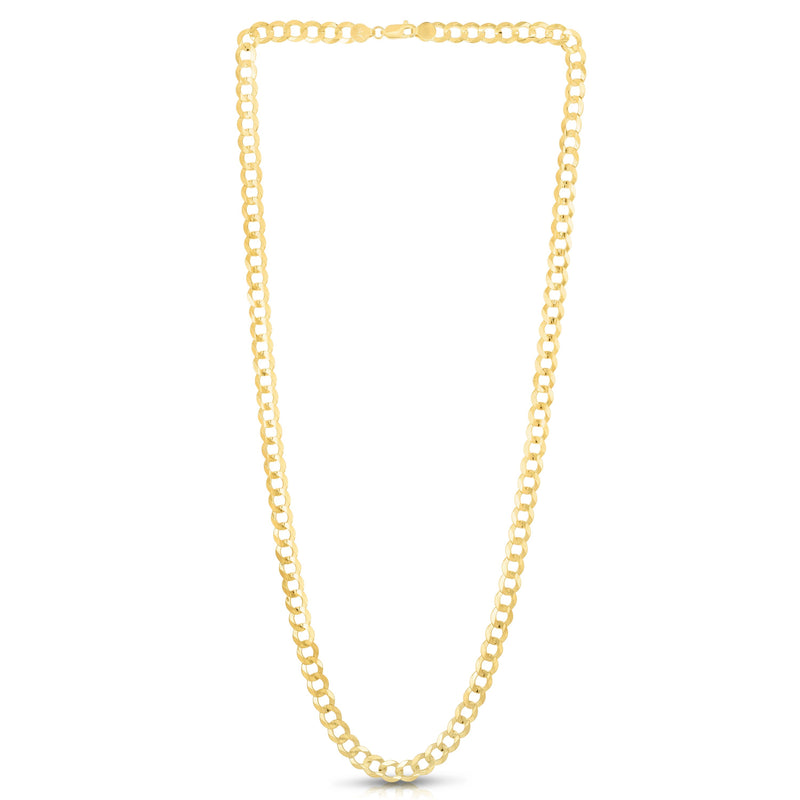 10K 8.5 inches Yellow Gold 7.0mm Diamond Cut Comfort Curb Chain Bracelet with Lobster Clasp