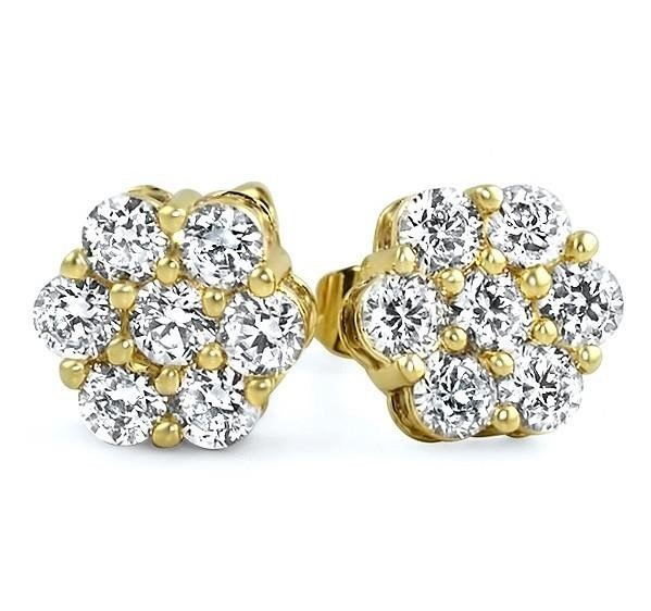 10K Yellow Round Flower Cluster Diamond Stud Earrings - 1.05CTW