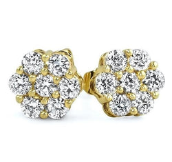 Yellow Round Flower Cluster Earrings