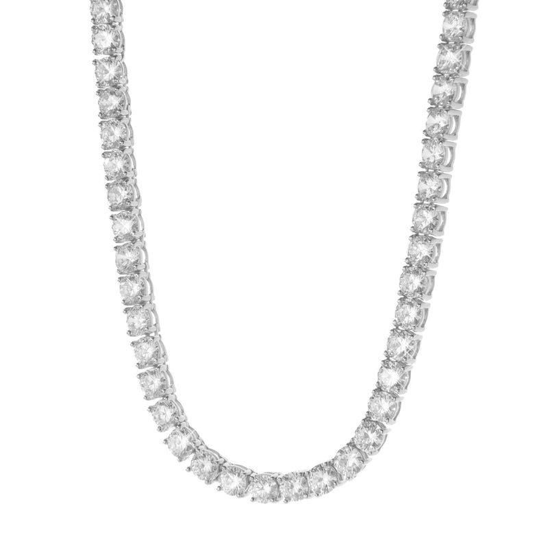 Silver Round Cut Rhodium Tennis Necklace with CZ Stones 4mm 30''