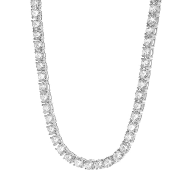Silver Round Cut Rhodium Tennis Necklace with CZ Stones 3mm 28''