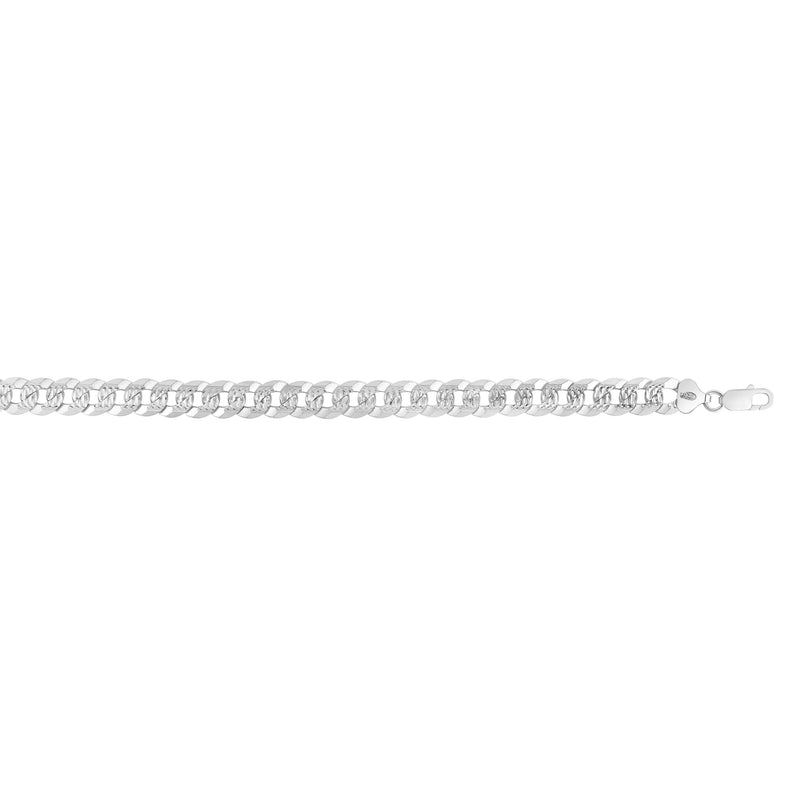 Silver 8.5 inches with Rhodium Finish 9.3mm Polished Comfort Pave Curb Chain with Lobster Clasp