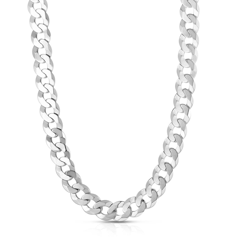 Silver 8.5 inches with Rhodium Finish 9.5mm Diamond Cut Curb Chain with Lobster Clasp