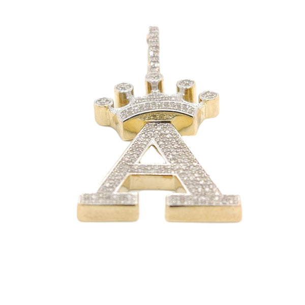 10K Yellow Gold Diamond A Letter Charm with Crown
