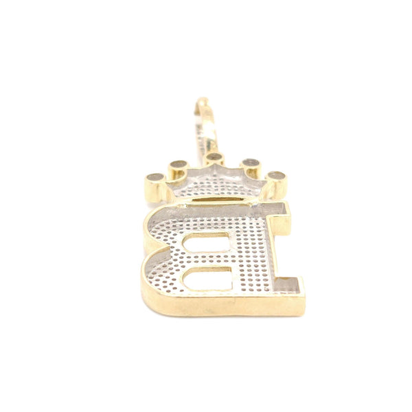 10K Yellow Gold Diamond B Letter Charm with Crown