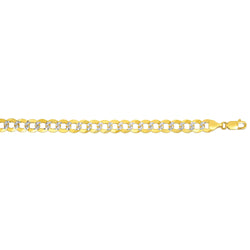 14kt Gold 8.5 inches Yellow+White Finish 9.7mm Diamond Cut Comfort Pave Curb Bracelet with Lobster Clasp