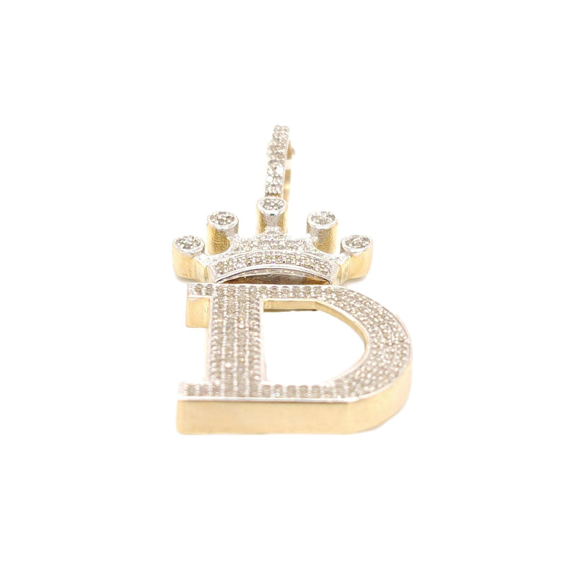 10K Yellow Gold Diamond D Letter Charm with Crown