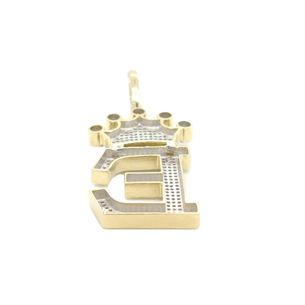 10K Yellow Gold Diamond E Letter Charm with Crown