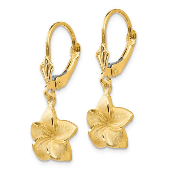 14k Satin & Diamond-Cut Plumeria Dangle Leverback Earrings
