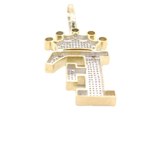 10K Yellow Gold Diamond F Letter Charm wth Crown