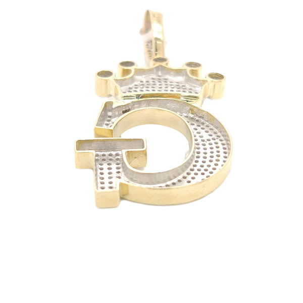 10K Yellow Gold Diamond G Letter Charm with Crown