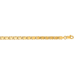 14kt 7 inches Yellow Gold 3.3mm Diamond Cut HEarRingt Chain with Lobster Clasp