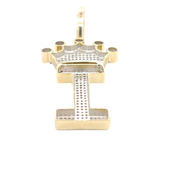 10K Yellow Gold Diamond I letter Charm