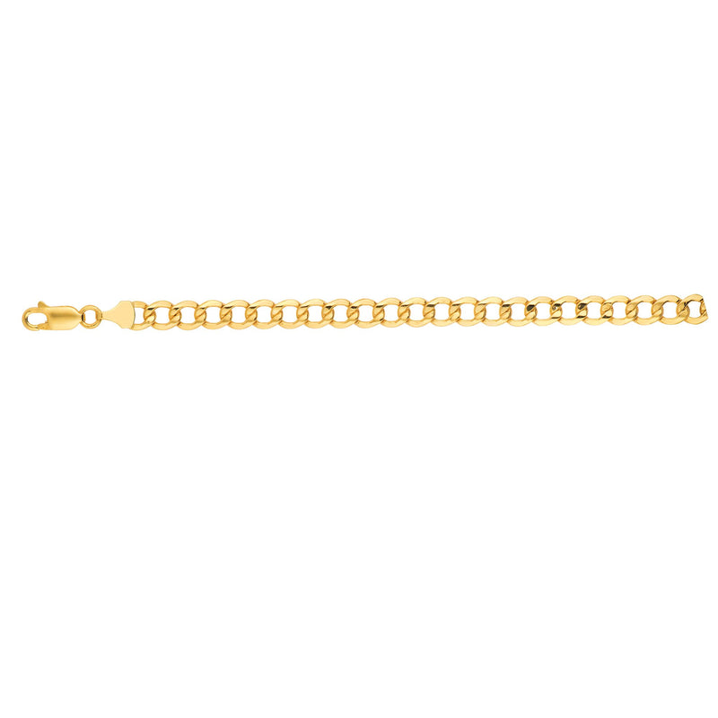 14kt 8 inches Yellow Gold 6.2mm Diamond Cut Curb Lite Chain with Lobster Clasp