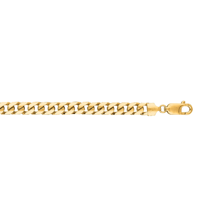 14kt 8.50 inches Yellow Gold 6.7mm Diamond Cut Miami Cuban Link Chain with Lobster Cla sp