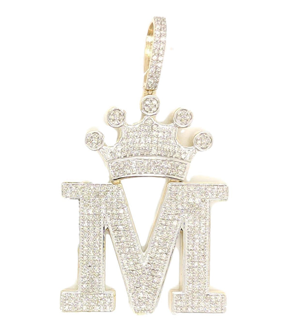 10K Yellow Gold Diamond M Letter Charm