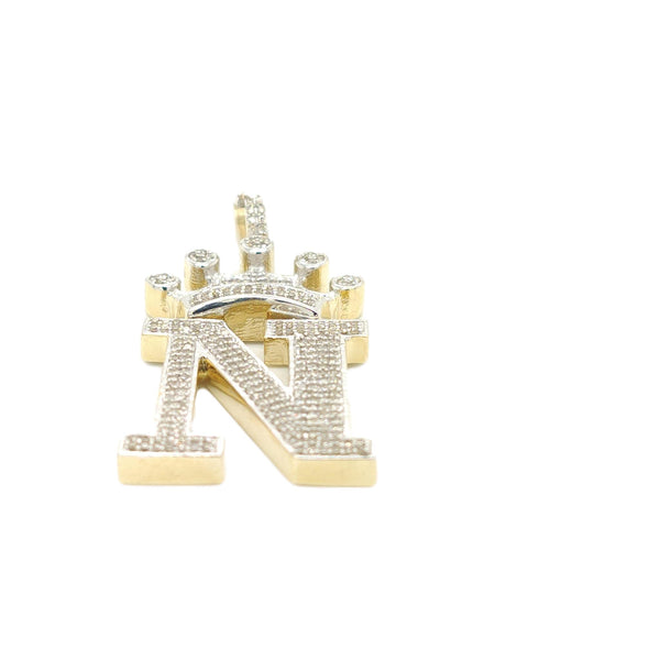 10K Yellow Gold Diamond N Letter Charm