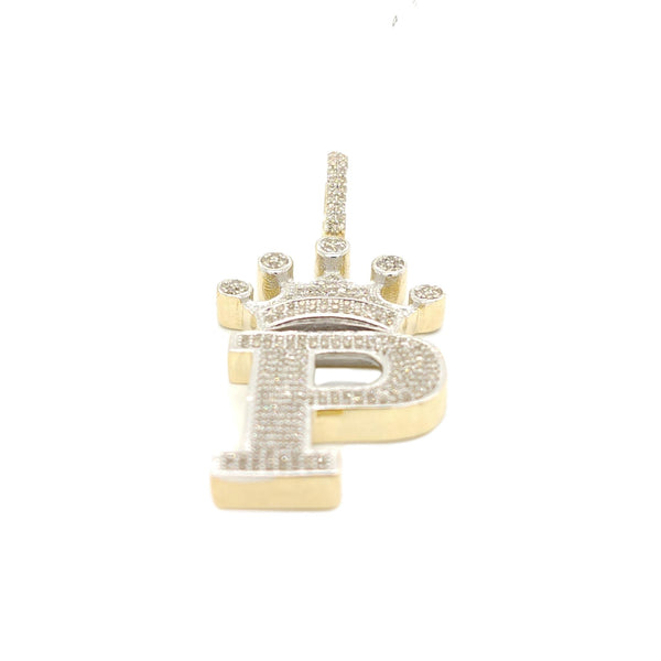 10K Yellow Gold Diamond P Letter Charm