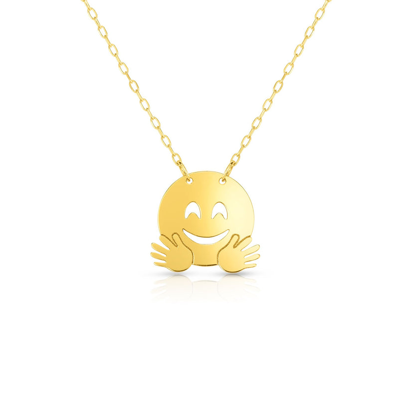 14kt Gold 16 inches Yellow Finish Chain:0.8mm+Center Round Pendant:11mm Shiny Fancy Happy Face Flying Emoji Necklace with 1 inches Extender Spring Ring Clasp