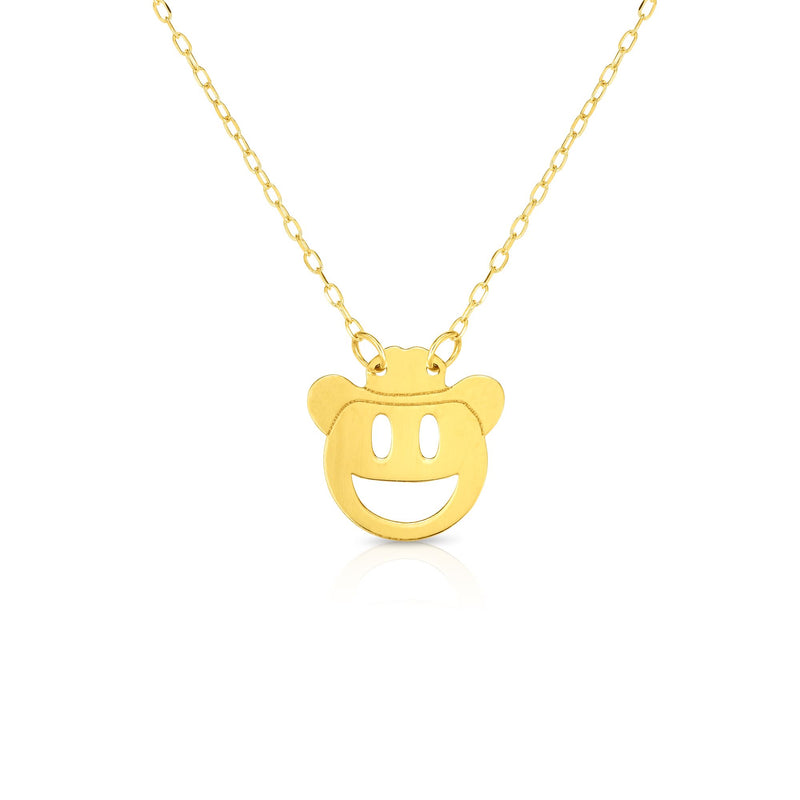 14kt Gold 16 inches Yellow Finish Chain:0.8mm+Center Round Pendant:11mm Shiny Fancy Necklace with 1 inches Extender Spring Ring Clasp