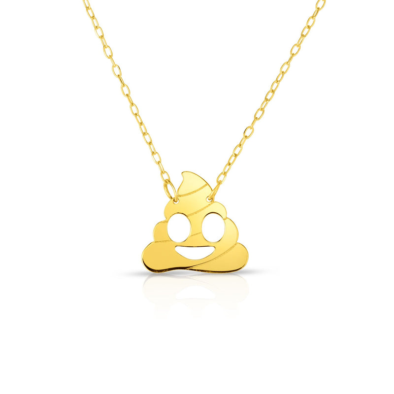 14kt Gold 16 inches Yellow Finish Chain:0.8mm+Center Round Pendant:11mm Shiny Fancy Poop Emoji Necklace with 1 inches Extender Spring Ring Clasp