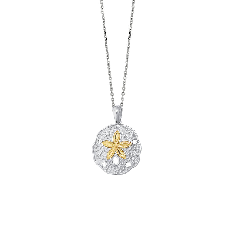 14kt Yellow Gold+Silver with Rhodium Finish 18 inches Shiny Textured Oval Link Chain Necklace+Sand Dollar Pendant with Star Fish