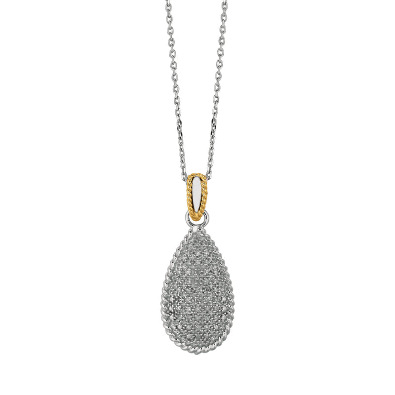 14kt Yellow Gold+Silver with Rhodium Finish 18 inches Shiny Oval Link Chain Necklace With Teardrop Pendant+0.31Ct White Diamond