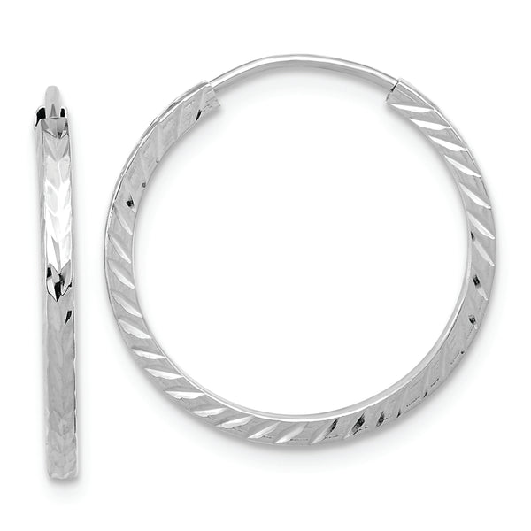 14k White Gold Diamond-cut Square Tube Endless Hoop Earrings