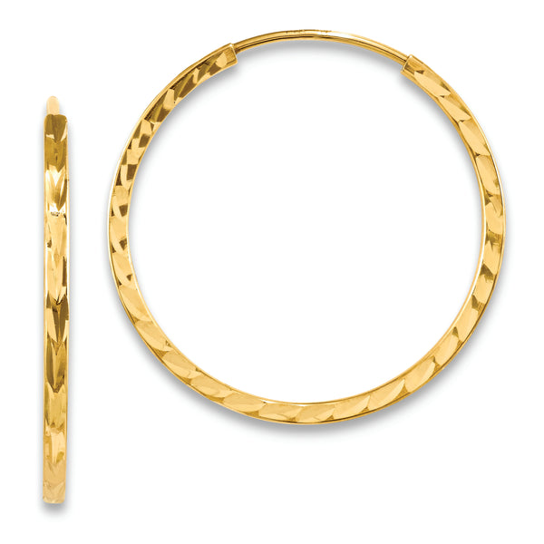 14k Diamond-cut Square Tube Endless Hoop Earrings