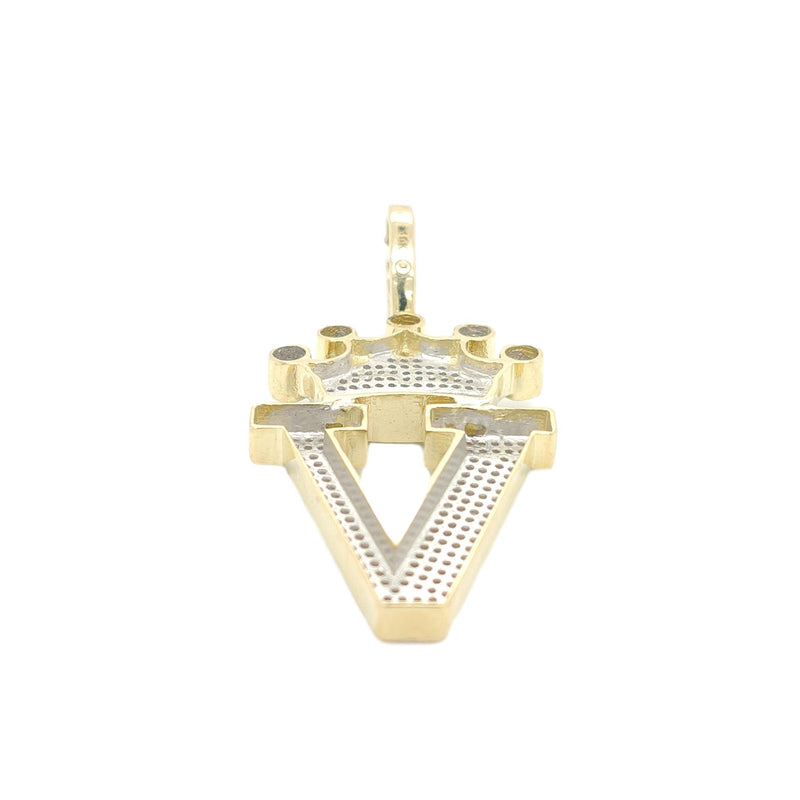 10K Yellow Gold Diamond V Letter Charm