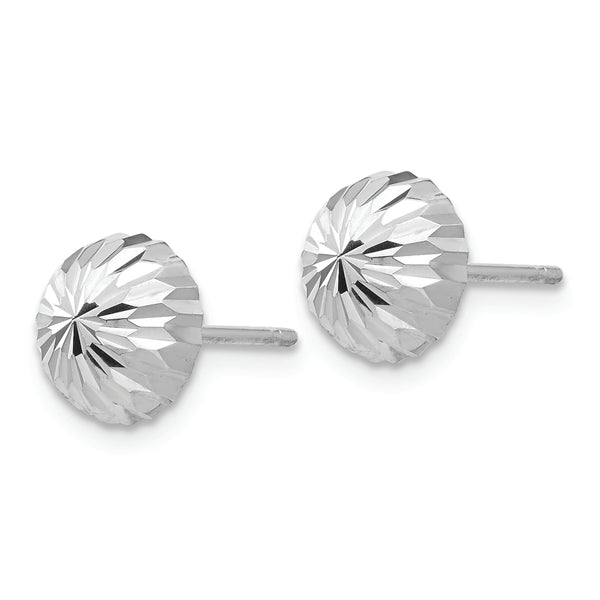 14k White Gold Polished & Diamond-Cut Half Ball Post Earrings
