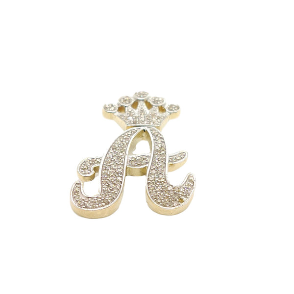 10K Yellow Gold Diamond A Letter Charm with Crown Small size