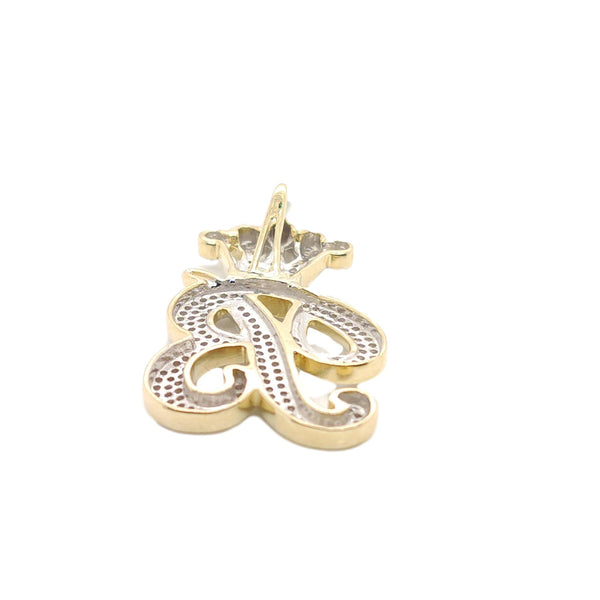 10K Yellow Gold Diamond B Letter Charm with Crown Small Size