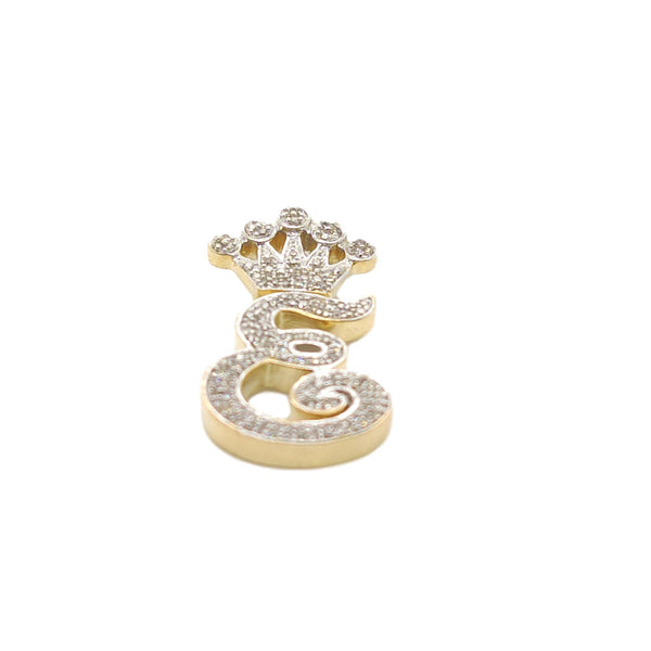 10K Yellow Gold Diamond E Letter Charm with Crown Small Size