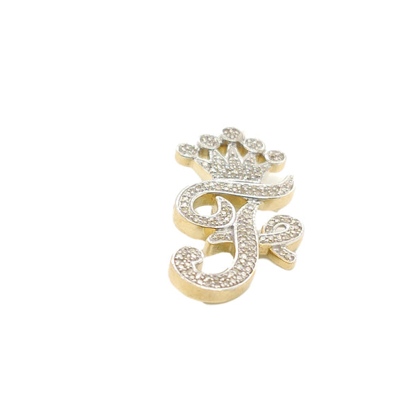 10K Yellow Gold Diamond F Letter Charm with Crown Small Size