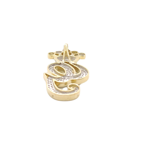 10K Yellow Gold Diamond G Letter Charm with Crown Small Size