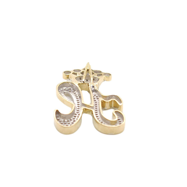 10K Yellow Gold Diamond H Letter Charm with Crown Small Size