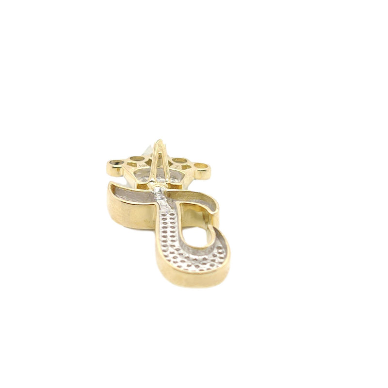 10K Yellow Gold Diamond J Letter Charm with Crown Small Size