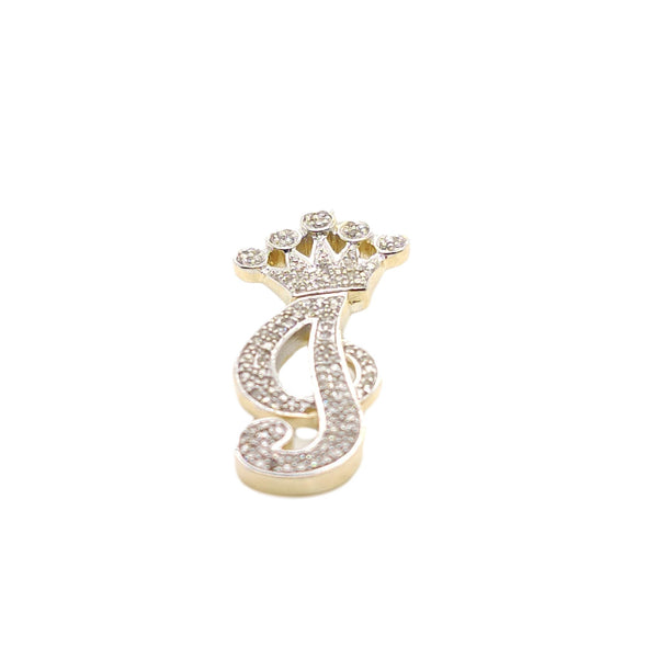 10K Yellow Gold Diamond lowercase j Letter Charm with Crown Small Size